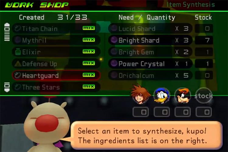 Heartguard item in synthesis menu / KH 1.5 HD