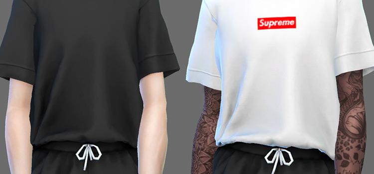 Supreme white and black shirts / Sims 4 CC