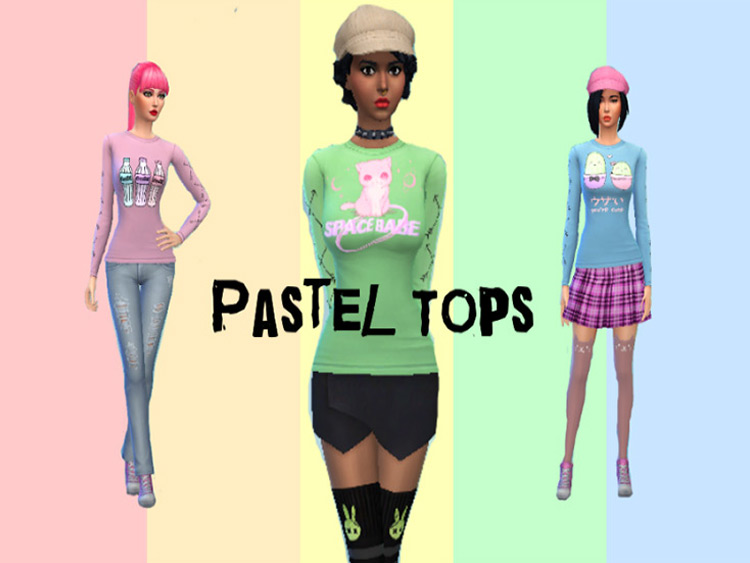 Cute Pastel Shirts CC for The Sims 4