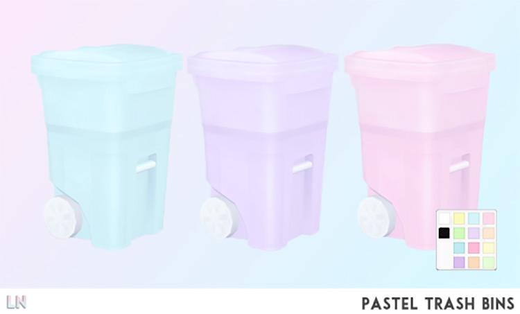 Pastel Trash Bins / Sims 4 CC