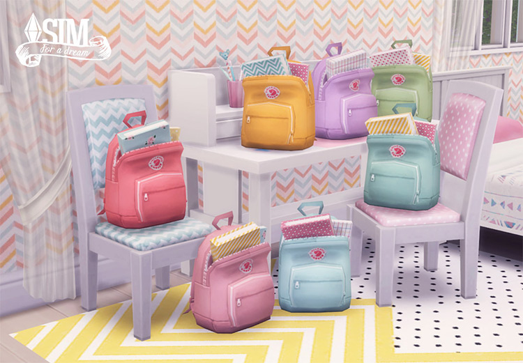 Backpacks in Pastel Colors for The Sims 4