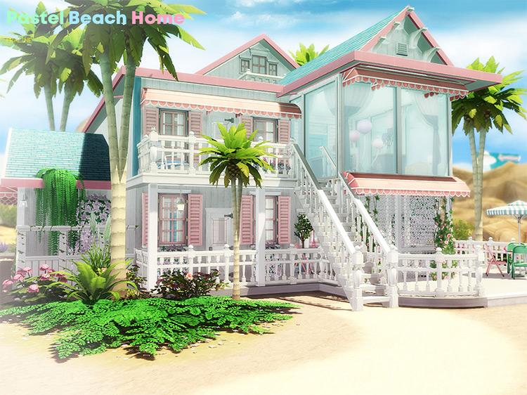 Pastel Beach Home Lot / The Sims 4