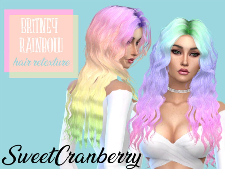 Britney Pastel Rainbow Hair for The Sims 4