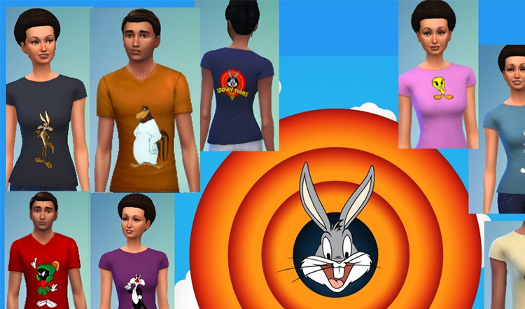 Looney Tunes T-Shirts for The Sims 4