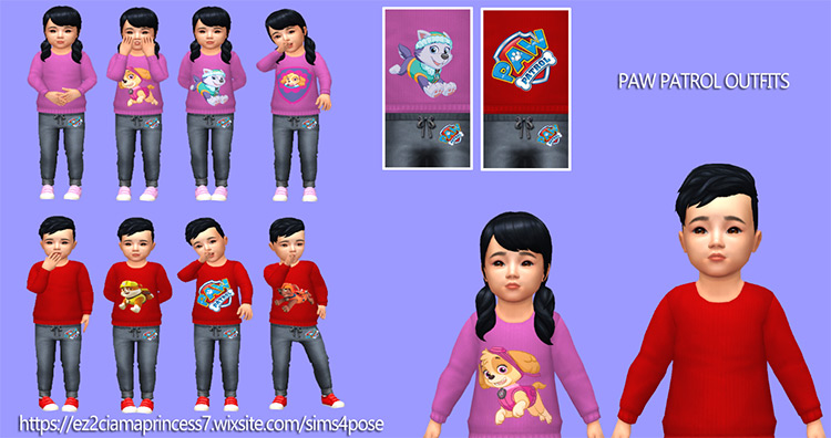 Paw Patrol Toddler Outfits / TS4 CC