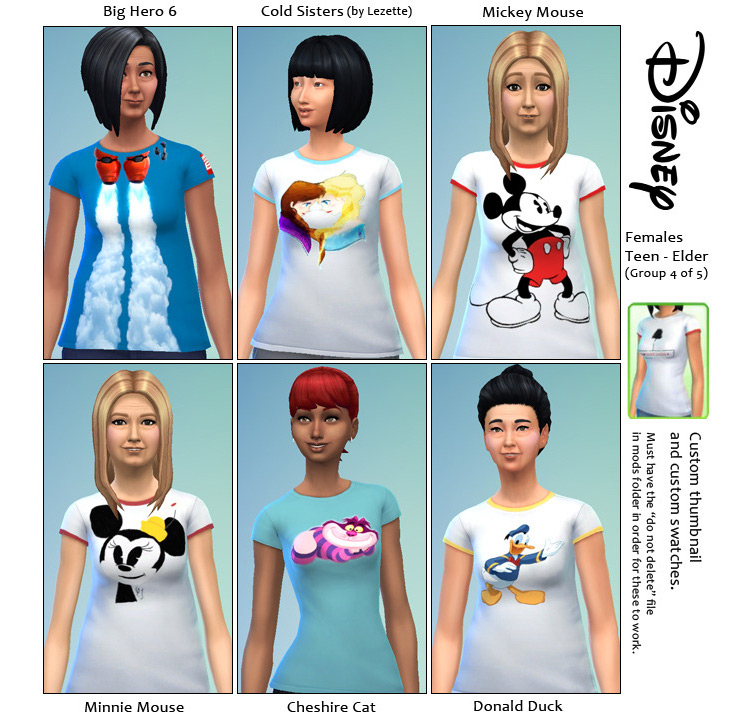 Disney Themed Shirts for The Sims 4