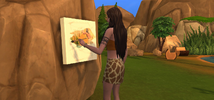 Prehistoric rock painting easel CC for The Sims 4