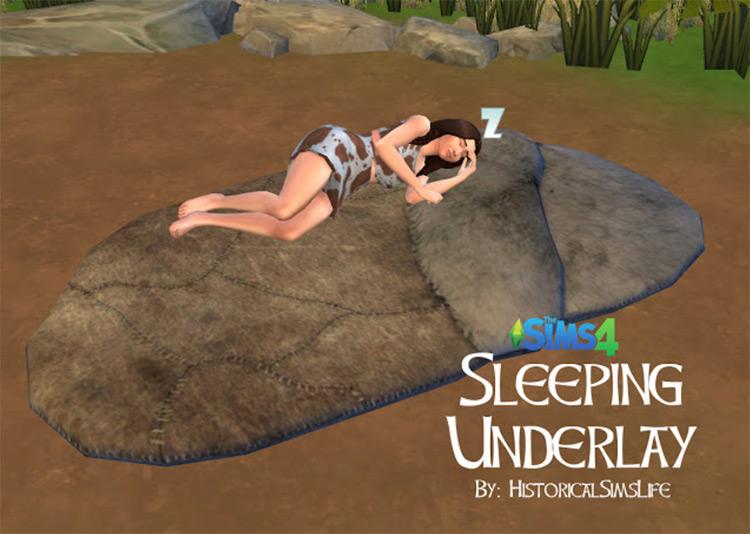 Sleeping Underlay Caveman Bed / Sims 4 CC