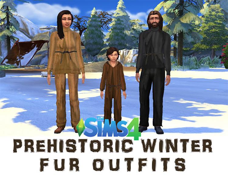 Prehistoric Winter Fur Outfits / TS4 CC