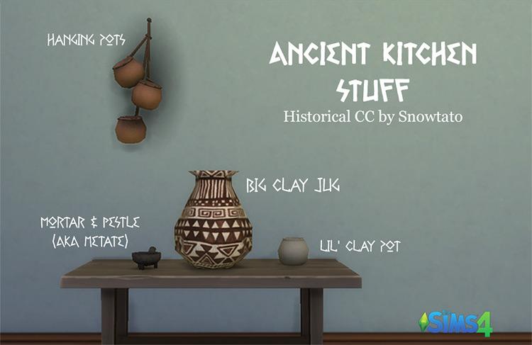 Ancient Kitchen Stuff Set / Sims 4 CC