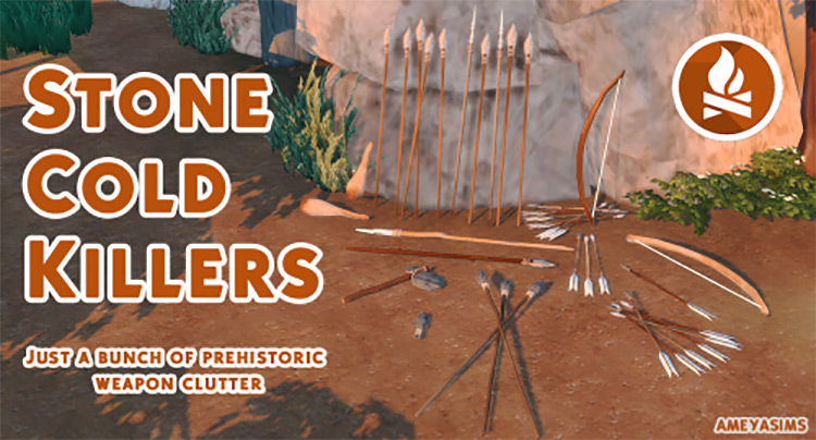 Stone Cold Killers: Prehistoric Weapons Clutter for The Sims 4