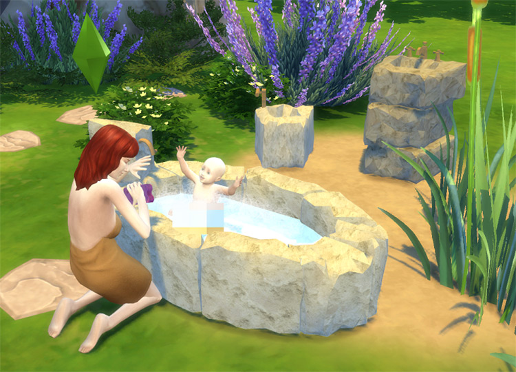Stone Age Bathroom for The Sims 4