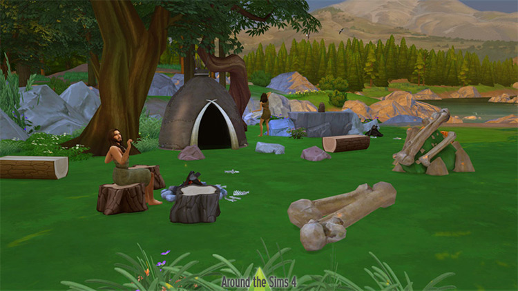 Prehistoric Hut and Dinosaur Bones / TS4 CC