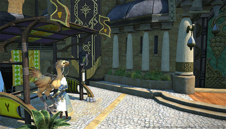 Chocobo stable outside apartments in FFXIV
