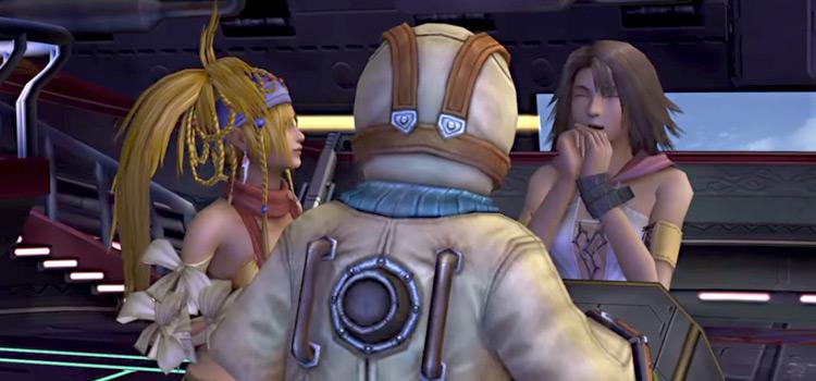 Yuna, Rikku and Shinra on the airship in Final Fantasy X-2
