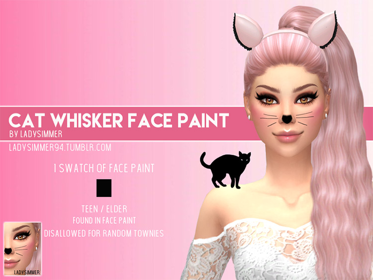 Cat Whisker Face Paint for The Sims 4
