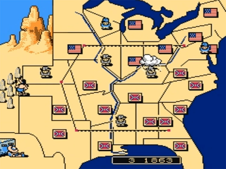 North & South Civil War game / gameplay NES