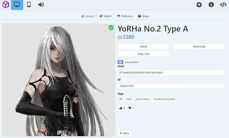 2A avatar mod for Beat Saber