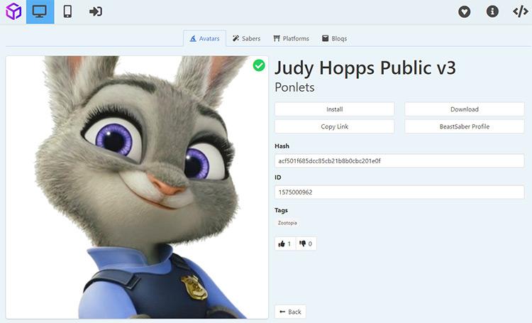 Judy Hopps avatar mod for Beat Saber