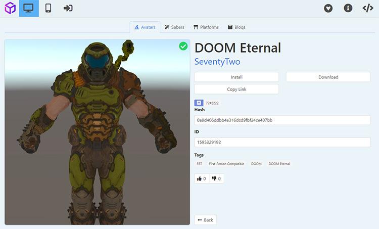Doomguy Beat Saber avatar mod