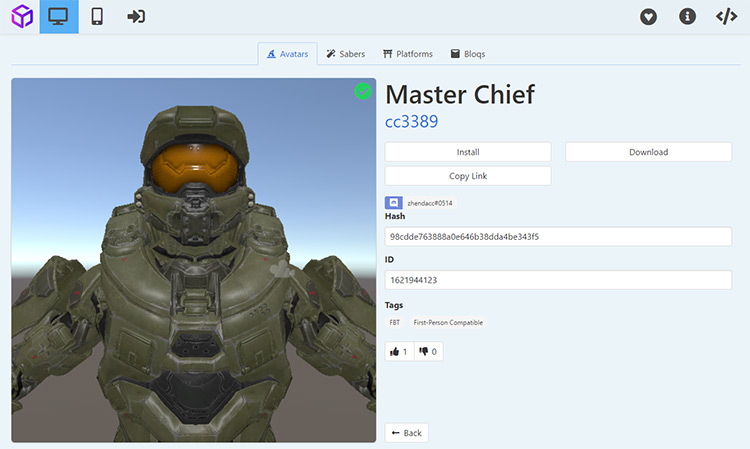 Master Chief avatar in Beat Saber