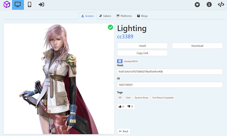 Lightning FF13 avatar mod for Beat Saber