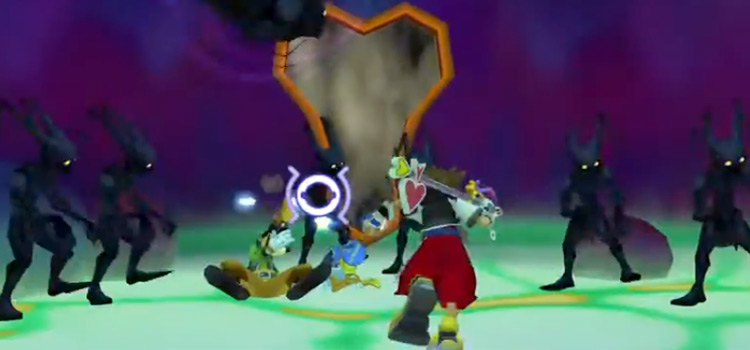 Sora battling Neoshadow Heartless in KH 1.5 HD