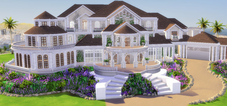 Mansion with a spiral staircase in The Sims 4