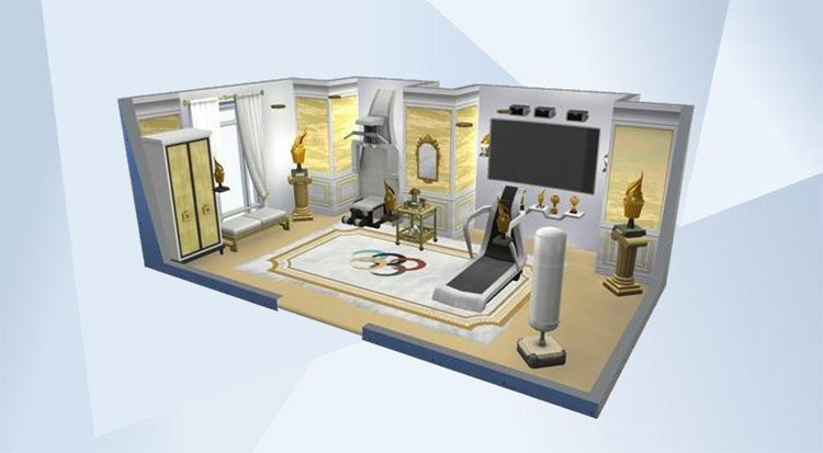Dreams of Gold Home Gym CC for The Sims 4