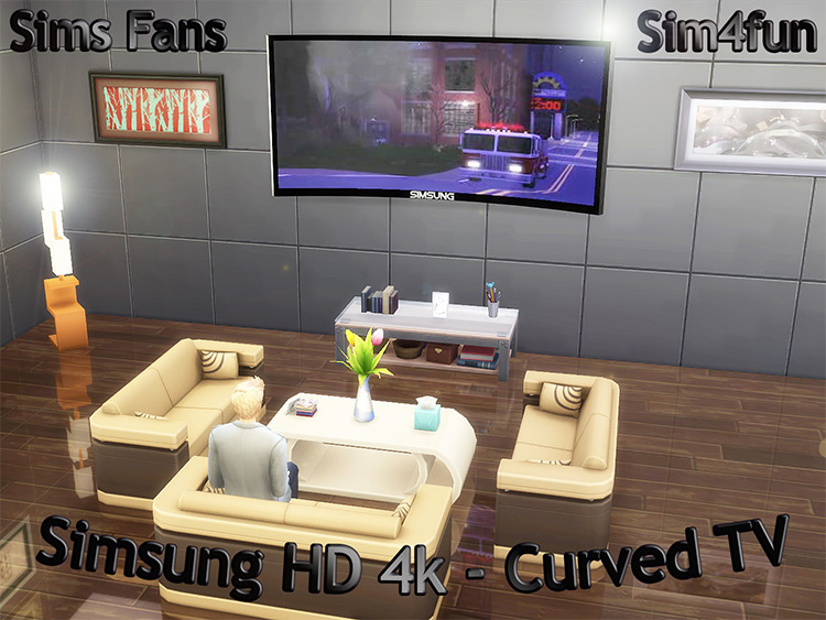 Simsung Curved Television / TS4 CC