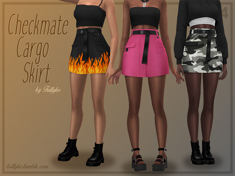 Checkmate Cargo Skirt / Sims 4 CC