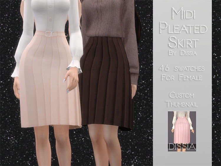 Midi Pleated Skirt / TS4 CC