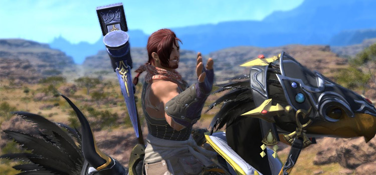 Mining character riding a chocobo mount in Final Fantasy XIV