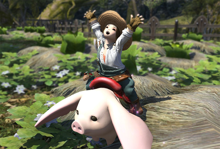 Botanist character riding mount in FFXIV