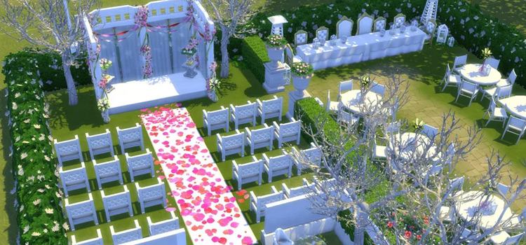 Wedding venue aisle with petals / The Sims 4