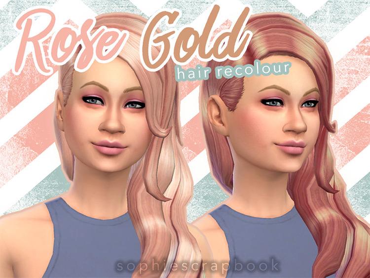 Rose Gold Hair Recolor CC / TS4