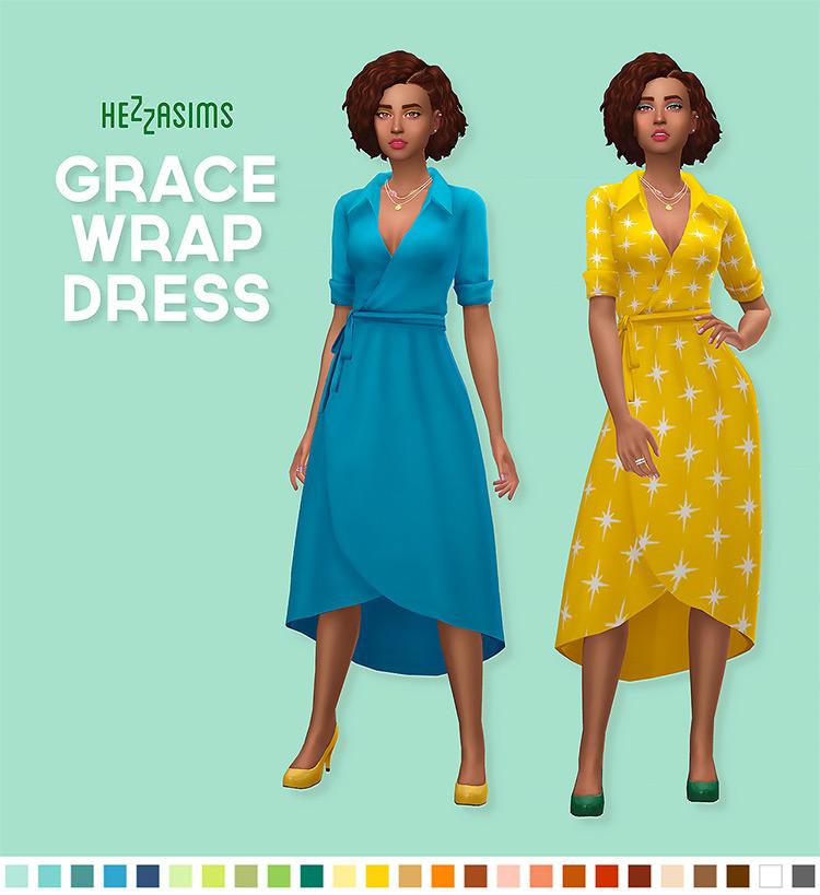 Grace Wrap Dress CC for The Sims 4