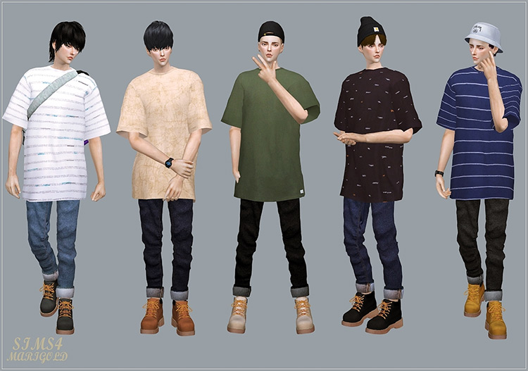 Male Roll-Ups Jeans CC / Sims 4