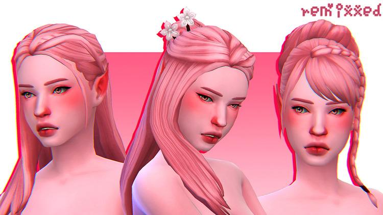 Peach, Peach Puff, and Curly Stars Hair / Sims 4 CC