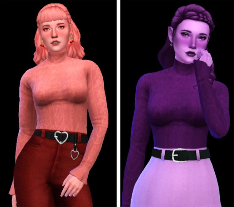 Turtleneck Bodysuit Outfit / Sims 4 CC