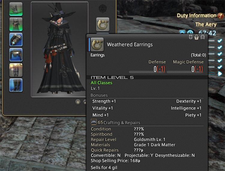 Item details and item level menu in FFXIV