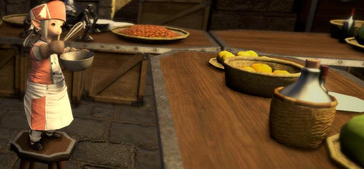 Culinarian cooking in Mor Dhona / Final Fantasy XIV