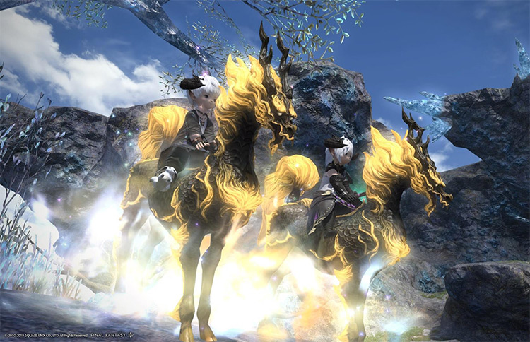 Kirin mounts with two players / FFXIV