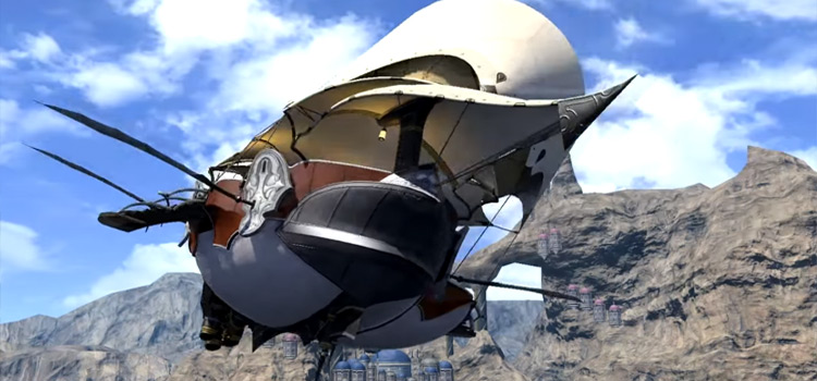 Airship flying to the Gold Saucer in FFXIV