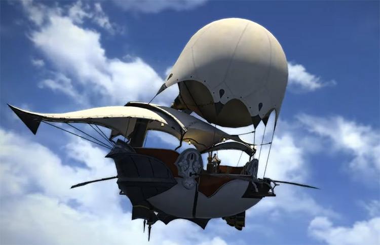Cutscene of flying airship in FFXIV