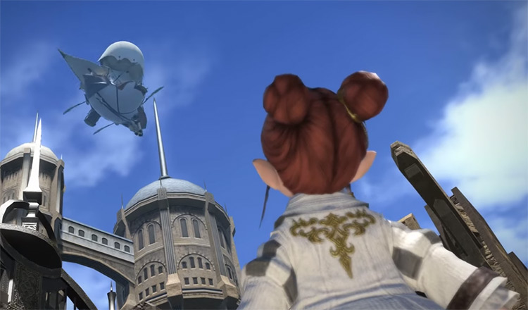 Character looking into sky at airship in FFXIV