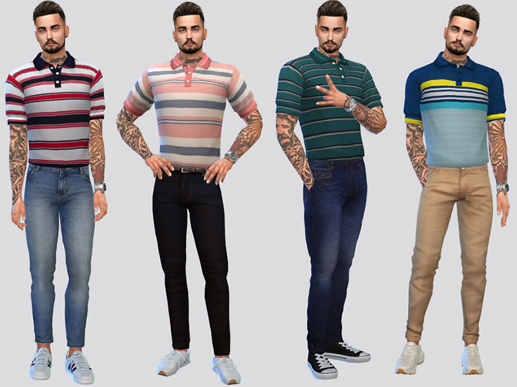 Tucked Polo Shirts for Golf / Sims 4 CC
