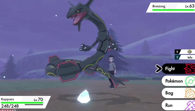Shiny Rayquaza in Pokémon Sword