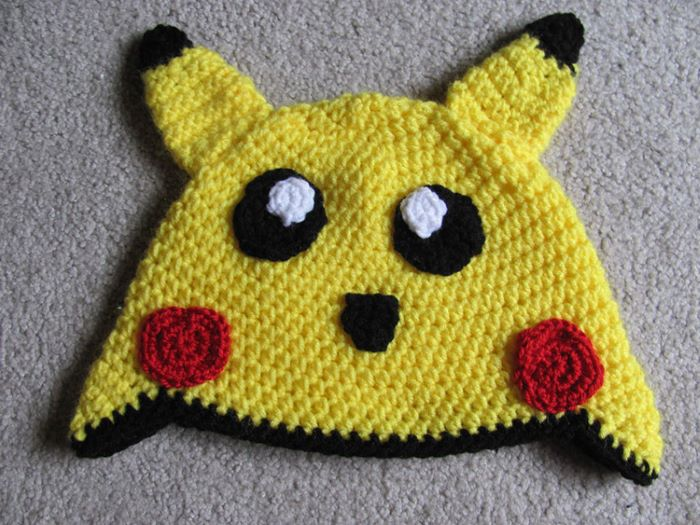 Pikachu design crochet hat