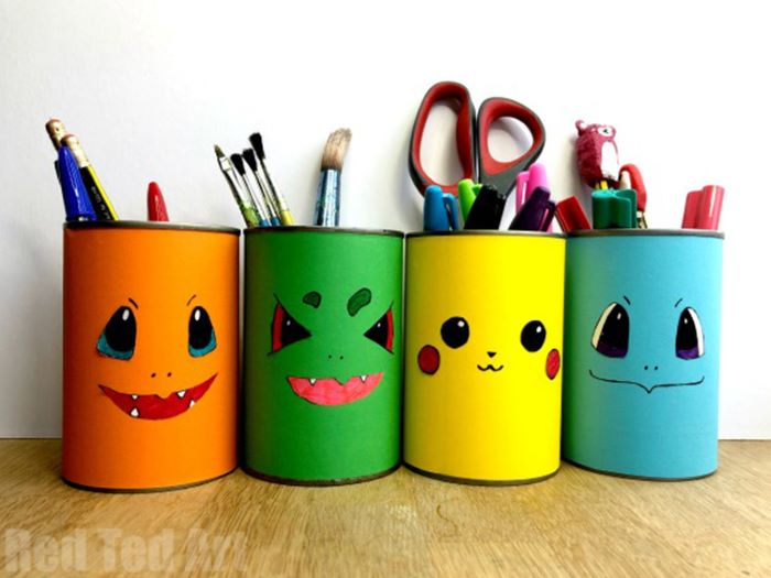Tin can pokemon design pencil holder